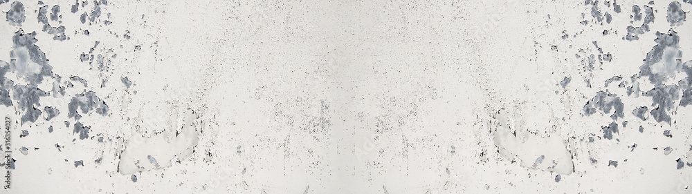 Fototapeta white painted exfoliated metal wall texture, with space for text, background panorama banner