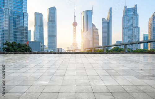 Panoramic skyline and buildings with empty concrete square floor,shanghai,china Wallpaper Mural