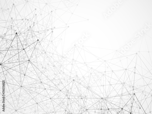 Abstract geometric background with connecting dots and lines. Modern technology concept. Black and white polygonal structure