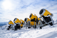 Snow Cannons In A Row Against ...