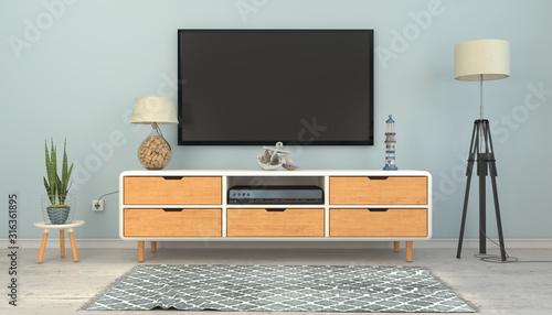 3d illustration - Skandinavisches, nordisches Wohnzimmer mit einem Sideboard und Fotobehang