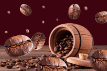 Coffee Beans 3d Image On The Background Of The Barrel