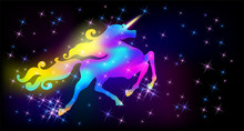 Galloping Iridescent Unicorn With Luxurious Winding Mane Prancing Against The Background Of The Fantasy Universe With Sparkling Stars
