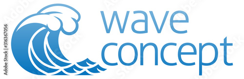An ocean wave water stylised icon concept graphic Wallpaper Mural