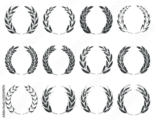 Photo Collection of different grunge stamp silhouette circular laurel foliate, wheat, barley, rye and oat spike wreaths depicting an award, achievement, heraldry, nobility