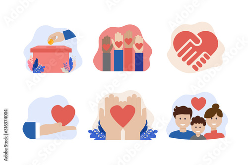 Photo charity and donation vector icon set