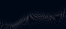 Wave Of Particles. Futuristic Point Wave. Vector Illustration. Abstract Background With A Dynamic Wave. Wave 3d.