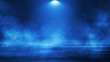 Empty background scene. Spotlight light reflection on asphalt. Rays of neon light in the dark, neon shapes, smoke. Background of an empty stage show. Abstract blue dark background.