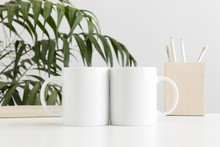 Two Mugs Mockup With Workspace...