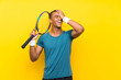 canvas print picture - African American tennis player man has realized something and intending the solution