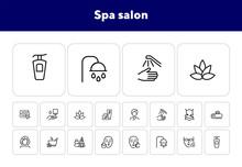 Spa Salon Line Icon Set. Massa...