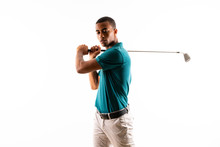 Afro American Golfer Player Man Over Isolated White Background