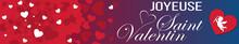 Bandeau Ou Carte Joyeuse Saint Valentin Avec Coeur Rouge Et Blanc Ange Sur Fond Rouge, Violet Et Bleu En Dégradé