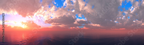 Fototapeta Beautiful sea sunset, panorama of the ocean at sunset, clouds above the water, sunrise in the sea obraz