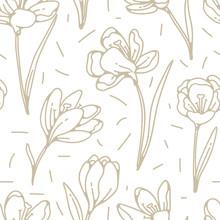 Crocus Flower Golden Seamless ...