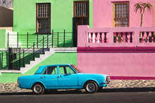 Old Blue Car In Front Of Colorful Houses, Bo-Kaap, Capetown