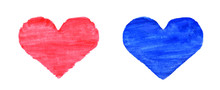 Hand Drawn Isolated Watercolor Red And Blue Hearts