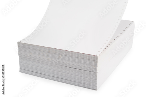 White Tractor-Feed Paper or fan-fold paper , Continuous dot matrix tractor feed printer paper For use with dot-matrix and line printers with appropriate paper-feed mechanisms Wallpaper Mural