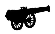 Ancient Iron Cannon. Vector Dr...
