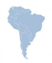 South America Continent With Contours Of Countries. Vector Drawing