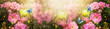 Leinwanddruck Bild - Fabulous blooming pink rose flowers summer garden and flying fantasy peacock eye butterflies on blurred sunny shiny glowing background, mysterious fairy tale spring floral wide panoramic banner