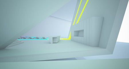 Abstract architectural white interior of a minimalist house with colored neon lighting. 3D illustration and rendering.