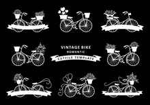 Set Of Vintage Bike With Flower Decoration