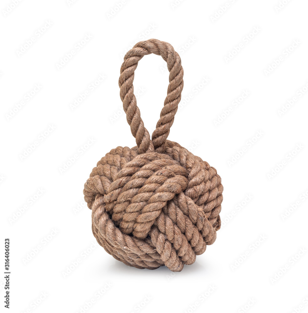 Fototapeta Rope knot isolated on a white