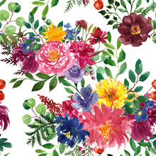 Beautiful Floral Seamless Pattern. Watercolor Red, Burgundy, Yellow And Navy Blue Flowers And Green Foliage On White Background. Autumn Bouquet With Dahlia, Peony, Aster Botanical Print.
