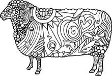 Color Me Folk Art Farm Sheep Doodle