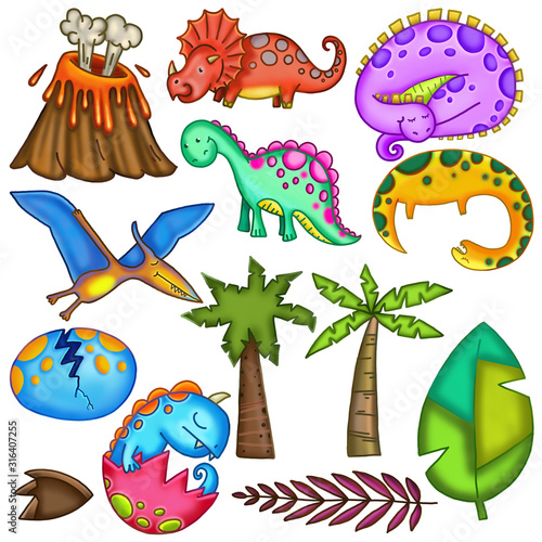 Vászonkép Volcanic Vibrant Dinosaur Jungle Monsters