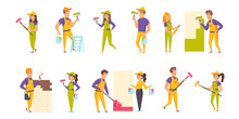 House Painters Flat Vector Illustrations Set. Wall Putty And Painting Scenes Bundle. Male And Female Workers, People In Helmets And Uniform Cartoon Characters Collection Isolated On White Background