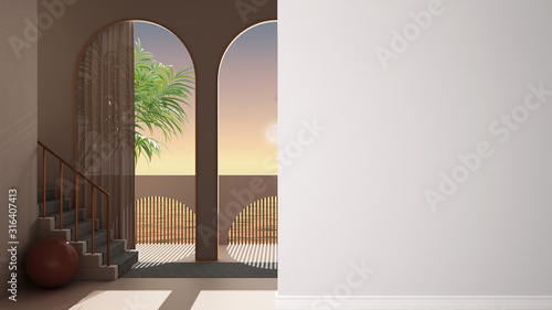 Fotografering Dreamy terrace, over sea panorama, palm trees, archways in rosy plaster, stairca