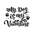 My Dog is My Valentine hand lettered quote