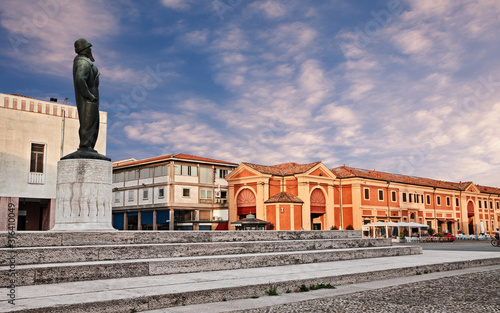 Lugo, Ravenna, Emilia Romagna, Italy: view at dawn of the square Francesco Baracca