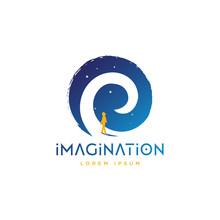 Girl Walking Into Dream Pathway, Future, Dream, Sky, Stars, Fantasy Illustration Logo Design