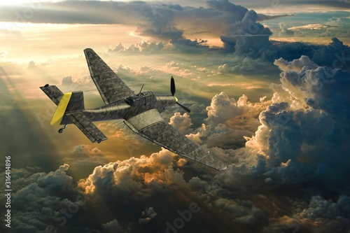 3D rendering of a world war two german dive bomber diving. Wallpaper Mural