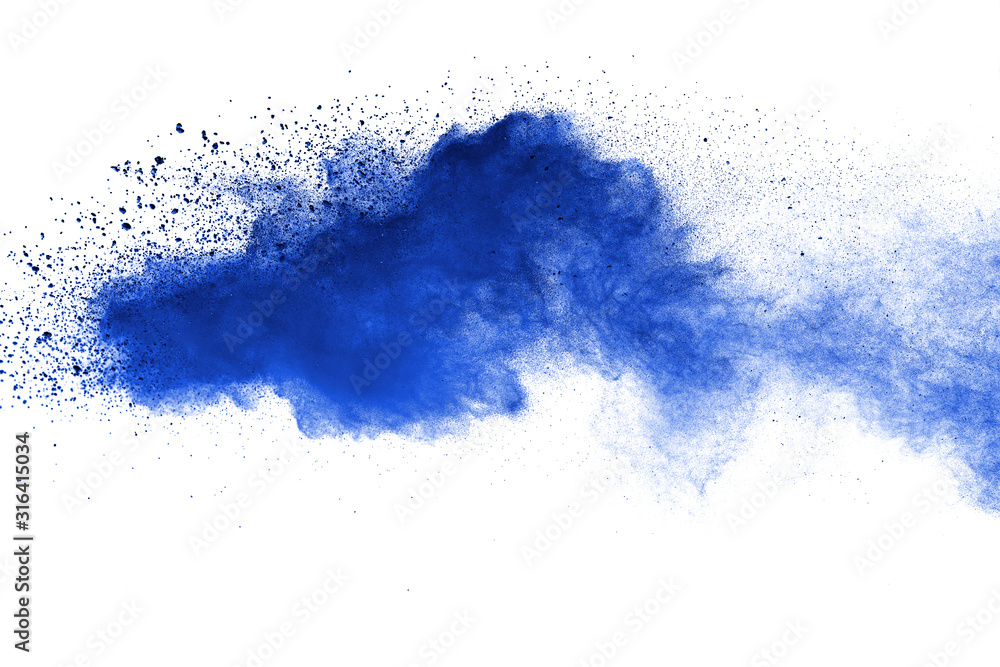 Fototapeta Abstract brown powder explosion. Closeup of blue dust particle splash isolated on white  background