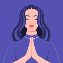 A Young Woman Prays To God. Portrait Of A Girl With Closed Eyes In The Temple. Vector Flat Illustration