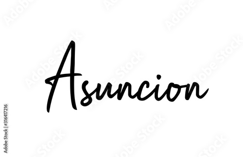 Asuncion capital word city typography hand written text modern calligraphy lette Canvas Print