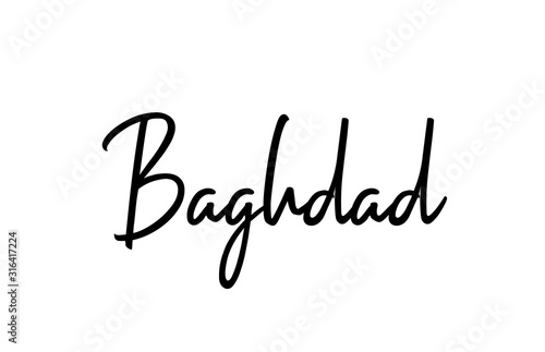 Fotografie, Tablou Baghdad capital word city typography hand written text modern calligraphy letter