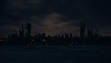 Düstere Skyline Bei Nacht   3D Render Illustration