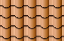 Seamless Texture Of Ceramic Waves Rooftop Background. Repeating Pattern Of Traditional Beige Clay Roof Tiles