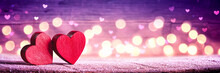 Banner Of Two Red Hearts On Ru...