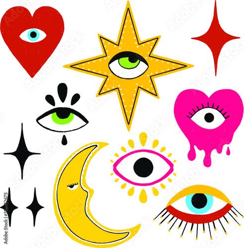 A set of magic eyes Принти на полотні