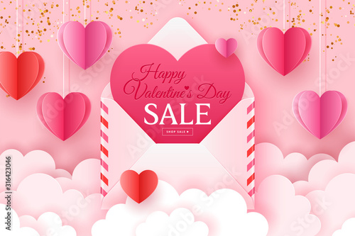 Fotografía Valentines day sale banner template for social media advertising, invitation or poster design with paper art heart shapes and envelope background