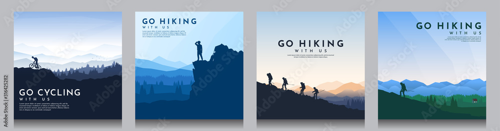 Fototapeta Vector brochure cards set. Travel concept of discovering, exploring and observing nature. Hiking. Climbing. Adventure tourism. Flat design for social media, blog post, poster, invitation. gift card.