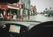 Satnav Navigation GPS Threw City Scape Stopped at Traffic Lights
