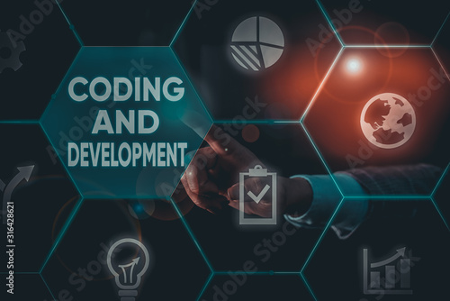 Платно Writing note showing Coding And Development