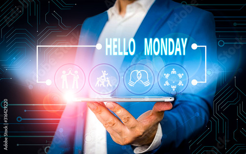 Text sign showing Hello Monday Wallpaper Mural